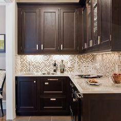 dark cabinets, white trim, light paint
