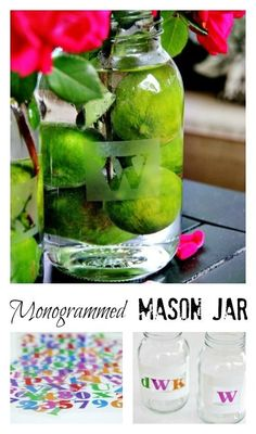 Etched Monogram Mason Jars DIY from Thistlewood Farms Mason Jar Projects, Mason Jar Crafts, Mason Jar Diy, Easy Diy Projects, Craft Projects, Furniture Projects, Diy Furniture, Etched Mason Jars, Thistlewood Farms