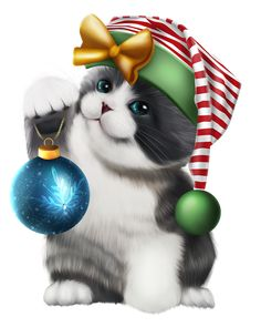 ╰⊰✿✿⊱╮ - The cat's meow - crismas Cat Christmas Cards, Christmas Scenes, Christmas Clipart, Noel Christmas, Christmas Animals, Vintage Christmas, Gato Doodle, Christmas Templates, Cat Cards