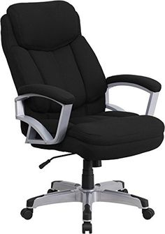 Flash Furniture Black Fabric Contemporary Desk Chair at Lowe's. Finding a comfortable chair is essential when sitting for long periods at a time. Big and Tall office chairs are designed to accommodate larger and taller High Back Office Chair, Black Office Chair, Swivel Office Chair, Ergonomic Office Chair, High Back Chairs, Office Desk, Office Furniture, Black Furniture, Furniture Ideas