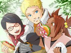 Sarada, Naruto, and Cho Cho