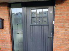 The DUBLIN Palladio Door with one side panels, with Satanized glass in Anthracite with bright chrome lever lever handle..  Single Palladio Door Collection with frame, lever lever handle, no letterbox, from €1600.00 fitted.  Palladio Door Collection with frame and ONE side panel from €1900.00 fitted.  Palladio Door Collection with frame and TWO side panels from €2350.00 fitted  You can contact us in any of the following ways:  Mobile / Whats app: 083 344 7775 / 086 213 1133