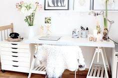 My home: Christmas work space white trestle desk