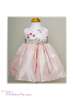 Pink / Sage Elegant Taffeta Baby Girl Dress with Embroidery Bodice
