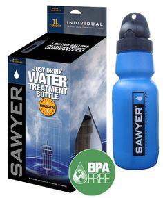 Sawyer 4 Way Water Filter - 34oz water bottle with in line filter that can also be removed and used in line with a standard hydration bladder, on your home faucet, as a stand alone unit or use the bottle by itself with chemical purification tablets.