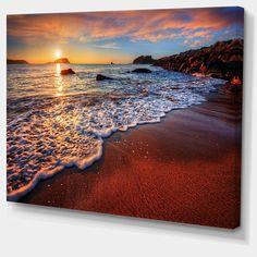 Design Art Designart Stunning Ocean Beach At Sunset Seashore Canvas Art Print - 40 X 30 Canvas Art Prints, Canvas Wall Art, Red Home Decor, Wedding Shower Gifts, Thing 1, Outdoor Lounge Furniture, Ocean Beach, Blue Beach, Holiday Sales
