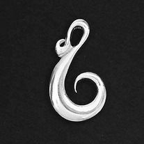 Pendant & Necklace Koru - the young uncurling tip of the tree fern frond, it represents a celebration of the vitality of life, of fresh growth and new beginnings. Pendant measures 38mm high x 22mm wide. Made from solid pewter, plated in 925 silver. Made in New Zealand. Organza bag included
