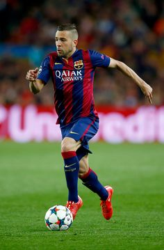 Jordi Alba of Barcelona in action during the UEFA Champions League Quarter Final second leg match between FC Barcelona and Paris Saint-Germain at Camp Nou on April 21, 2015 in Barcelona, Catalonia.