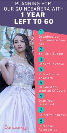 Planning for your Quinceañera is an exciting and enormous task. But don't worry, our Quinceanera.com planner can help your figure out what you need in planning a year up to 6 months out for your Quince! Quince Themes, Setting Up A Budget, Quinceanera Planning, Steps In Planning, Quince Dresses, Guest List, Save The Date Cards, Cute Photos, Dress First