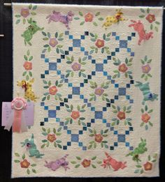 """Bunnies Jumping"""" by Dawn Horvath, quilted by Miriam McCurdy. Photo by Diary of a Quilt Maven: Highlights from the 2012 Trinity Valley Quilt Show Vintage Quilts Patterns, Quilt Patterns, Quilting Projects, Quilting Designs, Irish Chain Quilt, Girls Quilts, Baby Quilts, Kid Quilts, Flower Quilts"""