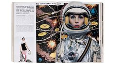 "Jean Shrimpton photographed by Richard Avedon, April 1965 We introduced Jean Shrimpton in the opening spread of the issue as the ""galactic beauty to the rescue"" superimposed over a background of an outerspace comic book panel. She's wearing a spacesuit by NASA, clearly conveying women have arrived as a powerful force to be reckoned with and representing the revolutionary youth culture of the sixties.   - HarpersBAZAAR.com"
