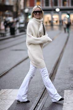 white, oversized and flared
