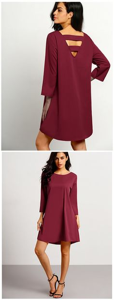 A classic cut dress is an investment fashion piece. And this bell sleeves flare dress in burgundy proves that. Designed with a round neck and a flare skirt. Wear as is, or with a cinched waist belt for shape.