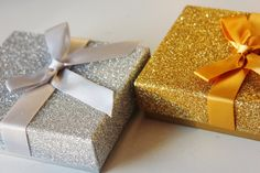 10 GLITTER SILVER or GOLD Gift Boxes Gift Card Box With Bow Christmas Gifts Stocking Stuffers Packaging Gift Wrap Glittery Sparkle Jewelry