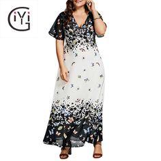 09510e81c60 GIYI Plus Size Butterfly Print Long Beach Dress Summer 2017 Vintage Chiffon  Maxi Dress Women Sexy Party Vestidos Big Size