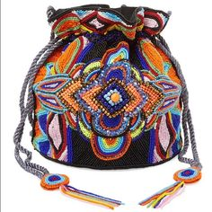 Anti Batik Mini Beaded Bucket Bag Sold out.  NWOT.  Gorgeous boho mini beaded bucket bag. Antik Batik Bags Mini Bags
