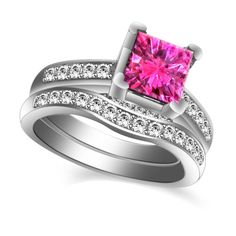 2.10 ct Princess Pink Sapphire & White Topaz Bridal Set Ring14K White Gold #Gemdepot #BridalSets #(I-CMD1728PSWTOP-14KW)