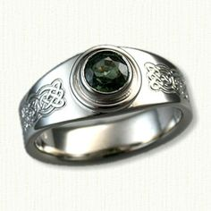 14kt White Gold Narrow Mary Ring (Tralee Reverse Etch Pattern) set with a 0.82ct eye clean round green sapphire