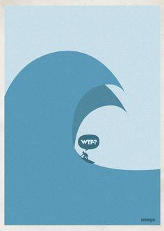 big wave WTF / Surfing Graphic Design