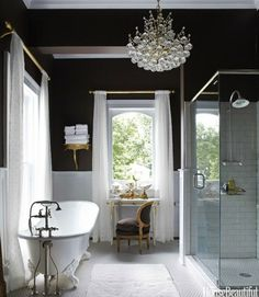 Frog Hill Designs via House Beautiful. Subway tile shower. Gorgeous chandelier. The color is outstanding. I think this is gorgeous