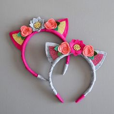 Adorable kitty cat ears headband handmade with high quality wool blend felt. Everything is hand cut. Headband is wrapped in felt. Soft and