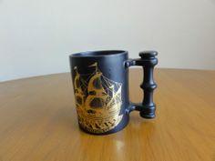 Black Mug Coffee Cup Mayflower Portmeirion Pottery Made England 1620-1970