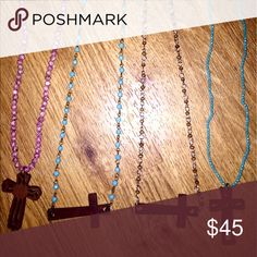 Wooden cross rosary necklaces Wooden cross pendants on stone and crystal rosary necklaces. $45 EA. HANDMADE Free People Jewelry Necklaces