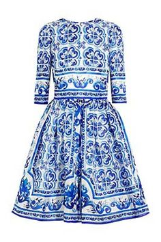 Blue Majolica Dress by Dolce & Gabbana #Dress #DolceGabbana