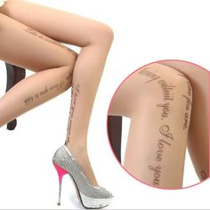 Spring 2016 Hot New Fashion Sexy Tattoo Tights Stockings Transparent Ultra-thin Ladies Girl and Women Pantyhose