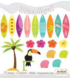 Surfboards Clipart Summer Surfboards Palmtree by MissAngelClipArt Hibiscus, Hawaian Party, Summer Clipart, Surf Decor, Clip Art, Luau Party, Arts And Crafts Projects, Summer Crafts, Scrapbook Paper Crafts