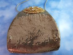 Whiting And Davis Golden Mesh Rhinestone Clasp Purse/Bag