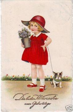 Greetings postcard Birthday Girl in red dress