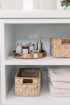 bathroom organization, cabinet ideas, woven baskets in open shelving, organization in cabinets, bath Neutral Bathroom, Small Bathroom, Bathroom Ideas, Bathroom Canvas, Parisian Bathroom, Bathroom Baskets, Dream Bathrooms, Master Bathroom, Bad Inspiration