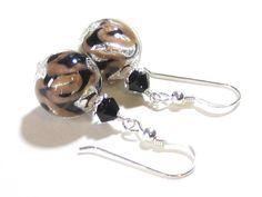 Murano Glass Black Copper Ball Silver Earrings, Clip-ons,Sterling Silver Leverbacks