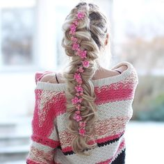 dutch braid with extensions | easy |tutorial | step by step | with flowers | hair accessory | blonde | girl