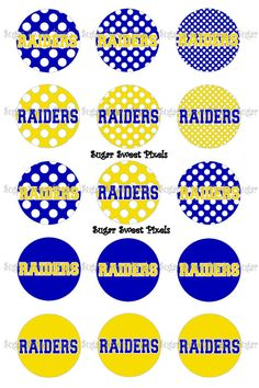 INSTANT DOWNLOAD Blue Yellow  Raiders Polka dot by sugarnspicebow