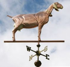 Nubian Goat Weather Vane by West Coast Weather Vanes.  This custom made handcrafted Nubian goat weathervane was made using a combination of copper and brass, both of which patina similarly, but with a slight variation in color.