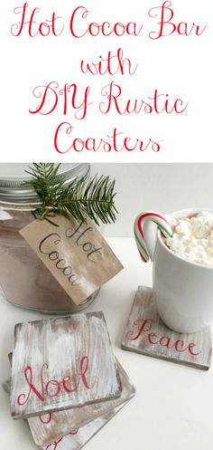 Hot Cocoa Bar with DIY Rustic Wood Coasters DIY Rustic Wooden Coasters. More from my siteLoquita Rustic Hutch Loquita Rustic Hutch Loquita Hutch Rustic Coasters, Diy Coasters, Farmhouse Coasters, Wood Projects For Beginners, Diy Wood Projects, Woodworking Projects, Woodworking Videos, Woodworking Bench, Wooden Crafts
