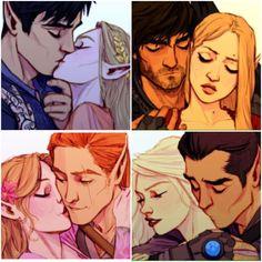 Rhys & Feyre, Cassian & Nesta, Elain & Lucien, Mor & Azriel. I do not like Tamlin. But I feel bad for him in this photo
