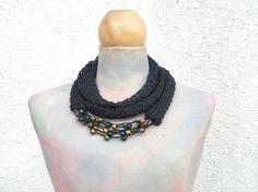 Black Boho knit scarf  linen natural loop  Hand by woollinen