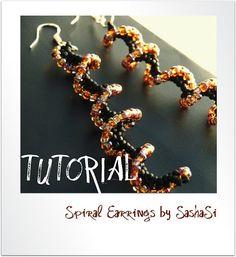 Beading Tutorial DOWNLOAD  Spiral Earrings by SashaSi on Etsy
