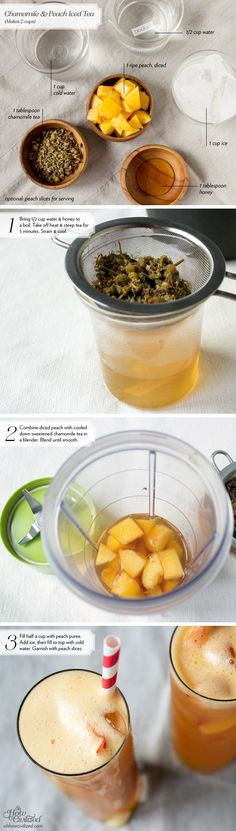 CHAMOMILE & PEACH ICED TEA Makes 2 cups INGREDIENTS 1/2 cup water 1 tablespoon honey 1 tablespoon chamomile tea (I used a chamomile blend called Gentle Blossom from Tealia.) 1 ripe peach, diced 1 cup ice 1 cup cold water optional: peach slices for serving