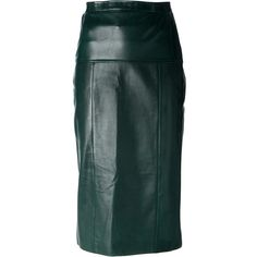Chanel Vintage leather pencil skirt (1,751 CAD) ❤ liked on Polyvore featuring skirts, chanel, green, high waisted skirts, green pencil skirt, green skirt, leather pencil skirt and high-waisted skirts