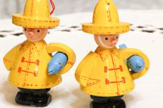 2 Wooden FISHERMEN figures Yellow Rain Coats and by CabinOn6th