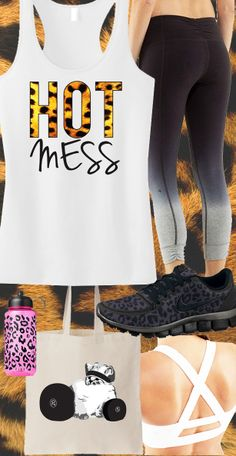 Awesome Leopard #Gym Gear Theme. HOT MESS Leopard White #Workout Racerback Tank Top by #NobullWomanApparel, $24.99 on Etsy....SEXY! Click here to buy https://www.etsy.com/listing/157708568/hot-mess-leopard-white-workout-tank?ref=shop_home_active_2&ga_search_query=hot%2Bmess