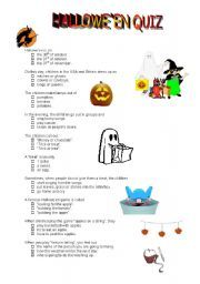 English worksheet: Halloween quiz