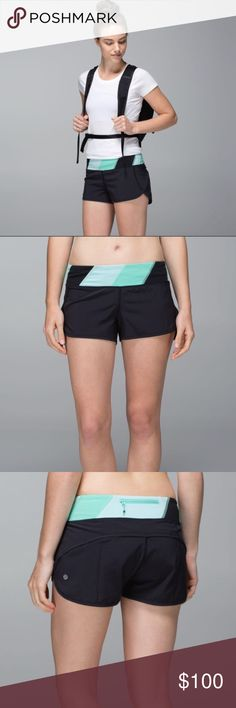 🍀RARE🍀 Lululemon Run: Speed Short | Size 4 🍀RARE LULULEMON STYLE. SOLD OUT ONLINE & IN STORES! 🍀Style: Speed Short 4-way Stretch (3 inch) 🍀Size 4, xs/small 🍀Black shorts with white, teal, & black quilt waistband  🍀like new/in excellent condition! No stains/pulls/etc.! 🍀lightweight, comfy, breathable, fashionable 🍀make me an O F F E R 🌸MORE LULU IN MY CLOSET! BUNDLE FOR 15% OFF! lululemon athletica Shorts