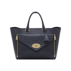 Mulberry - Willow Tote in Navy Classic Calf & Ostrich Mix With Soft Gold