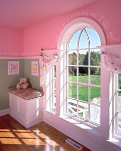 Cute window treatment in a pink girls bedroom - By: Witt Construction  in Saratoga Springs, NY