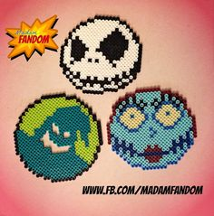 Items similar to NIGHTMARE BEFORE CHRISTMAS Set of 3 - Ornaments, Magnets, or Wall Decor (Perler Beads) on Etsy